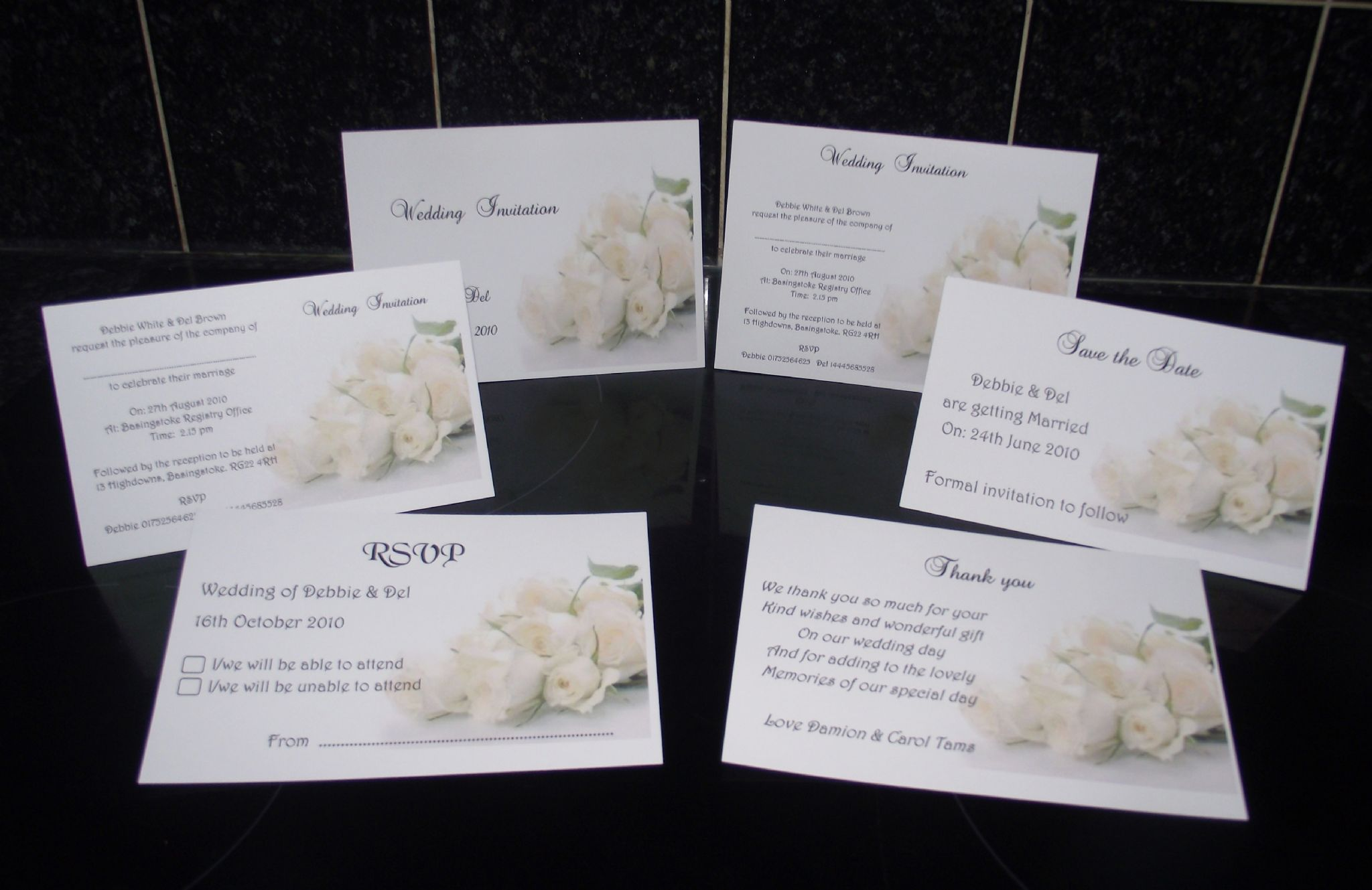 Wedding invitation day or evening Personalised Rose design A6 folded x10